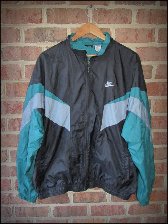 Vintage 90 s Nike Blue Green Gray Running Track Jacket - Size XL ... 2c8acf542