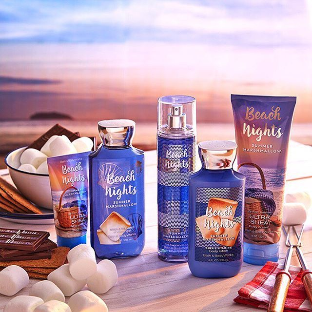 The marshmallow fragrance you'll be begging for s'more of is HERE!  NEW Beach Nights is a warm, summer treat of toasted marshmallow, sea salt breeze & #smores.  #PerfectSummer
