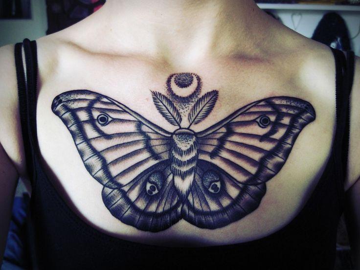 my first tattoo. Polyphemus Moth done at Fish Ladder Tattooin Lansing, MI