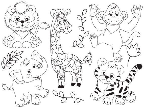 Jungle Animals Clipart Digital Vector Safari Animals Etsy Zoo Animal Coloring Pages Animal Coloring Pages Animal Clipart