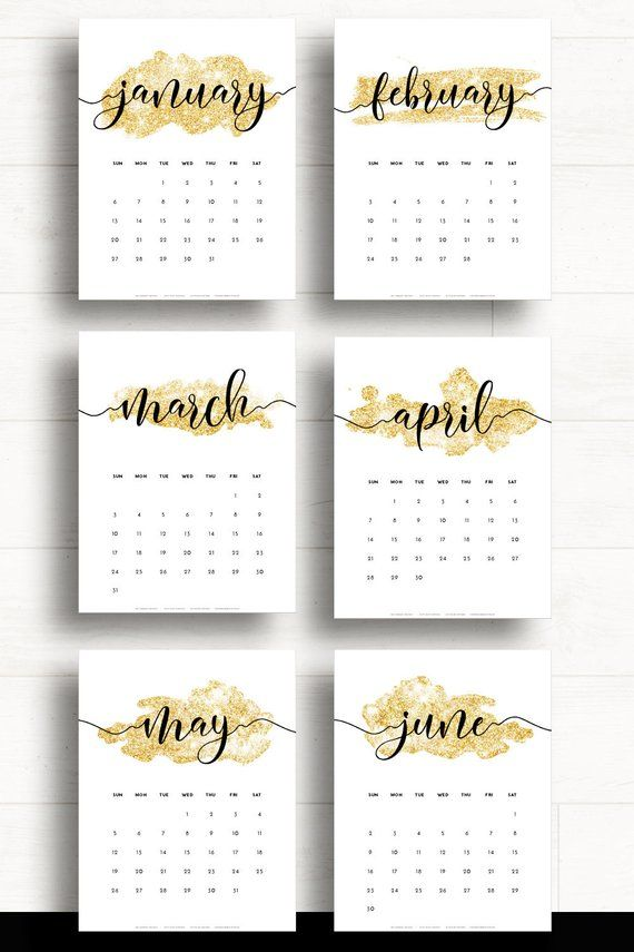Printable Monthly Calendar 2019 Gold Calendar Large Wall Calendar