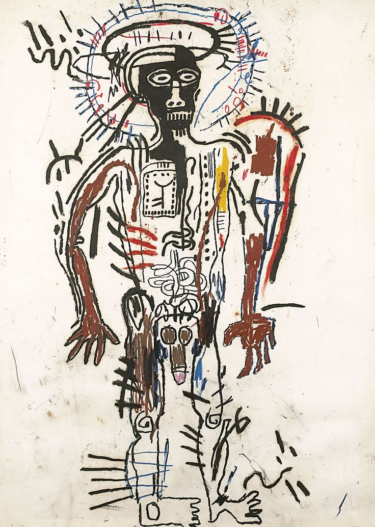 Jean-Michel Basquiat Black Man, 1982 Craie grasse sur papier, 108 x 76,5 cm Fondation Beyeler, Riehen / Basel ; donation Collection Renard © 2013, ProLitteris, Zurich Photo : © Studio Sébert, Paris