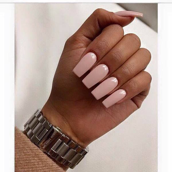 nails soft pink nail color on brown skin