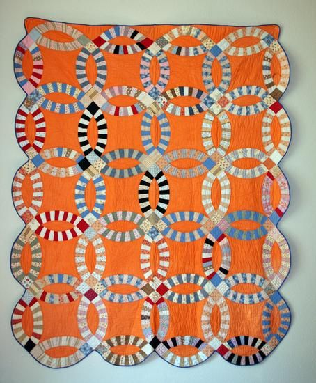 Double wedding ring quilt,1930s, Illinois, maker unknown.
