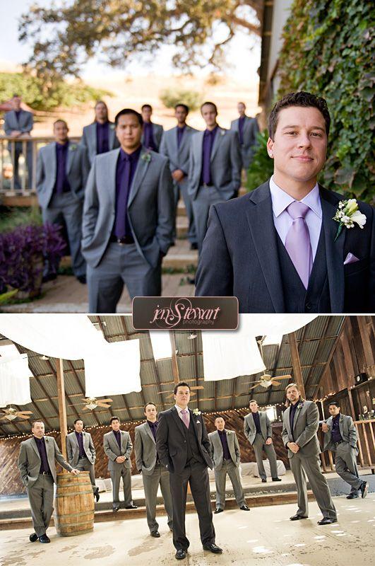 Guys in Grey & Purple    Videographer: Lovespun Handmade Wedding Films http://www.lovespunweddingfilms.com/2012/02/rustic-eclectic-countryside-wedding-taber-ranch-capay-valley/    Ceremony/Reception Venue: Taber Ranch http://www.taberranch.com/