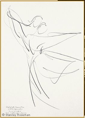 """Drawing by Stanley Roseman of Paris Opera star dancers Charles Jude and Florence Clerc, """"Comme on respire,"""" 1991, Uffizi Gallery, Florence. © Stanley Roseman."""