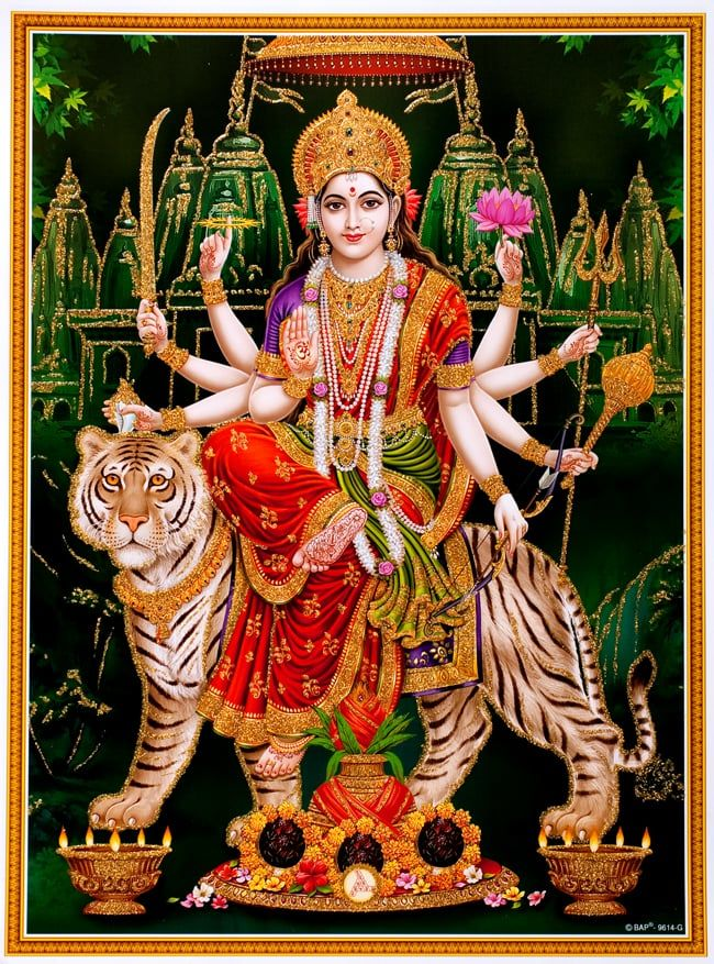 TIRAKITA | Rakuten Global Market: Posters of Hindu God goddess Durga victory of sparkling, India [45 cm x 30.5 cm] Durga Deva shinzoku parvathi decor art painting good luck luck luck.