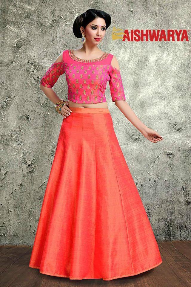 An incredible lehenga at an incredible price of only INR5,300! Buy Lehenga Choli online - http://www.aishwaryadesignstudio.com/vivacious-pink-and-peach-lehenga-with-an-open-shoulder