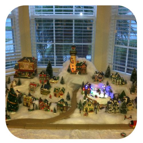 christmas village setup....it's never too early to start collecting gret ideas for NEXT Christmas!!!