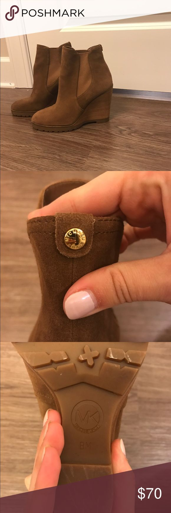 Michael Kors Thea Suede Wedge Ankle Boots Michael Kors Thea Dark Caramel Suede Wedge Ankle Boots Michael Kors Shoes Ankle Boots & Booties