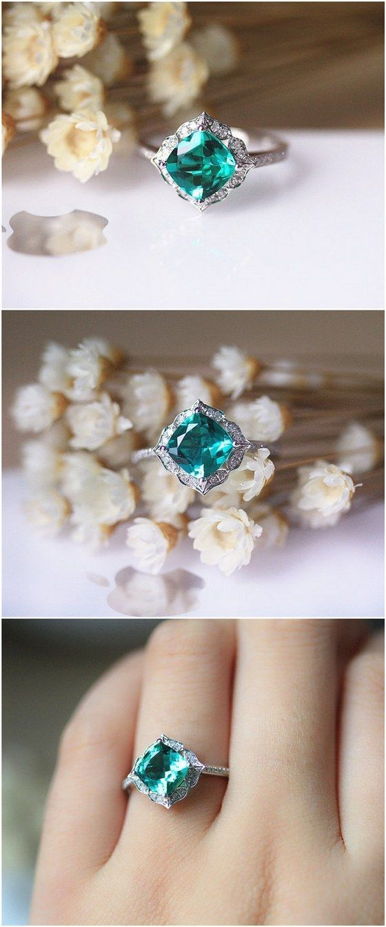 7mm Cushion Emerald Ring Solid 14K White Gold Wedding Ring Emerald Engagement Ring / http://www.deerpearlflowers.com/engagement-rings-from-etsy/