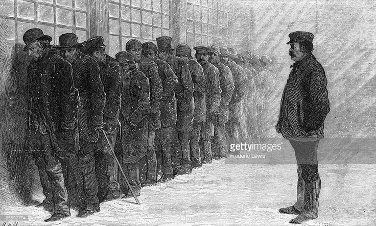 Unemployed men queue for a meal at the New York City poorhouse during the Panic of 1873.