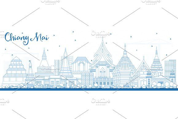 #Outline #Chiang #Mai #Thailand #City #Sky by Igor Sorokin on @creativemarket