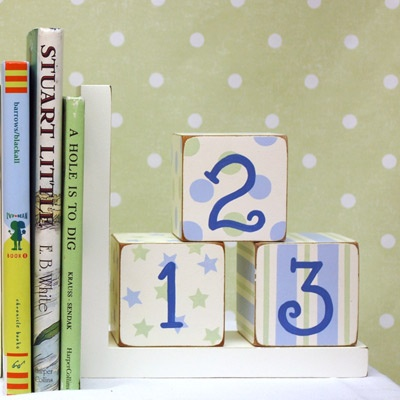 New Arrivals Book Ends ABC 123 Blue and Green
