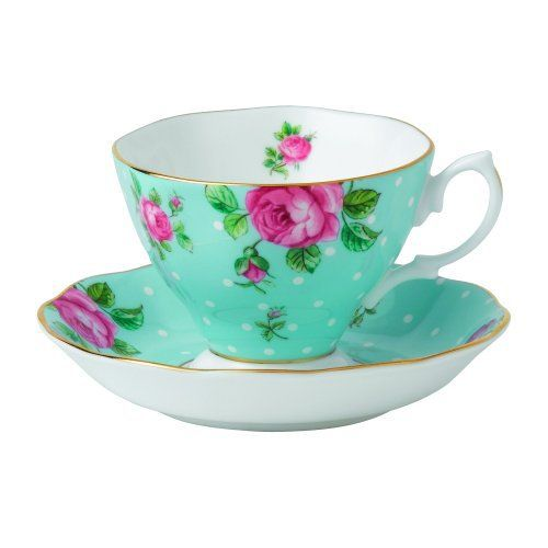 Vibrant and vivacious, Polka Blue is a beautiful new addition to the vintage patterns that have made Royal Albert famous the world over. Youthful and exuberant, this Formal Vintage Teacup & Saucer Boxed Set is rendered in fine bone china and combines classic form with intricate detailing, vibrant colors and a lustrous gold rim.