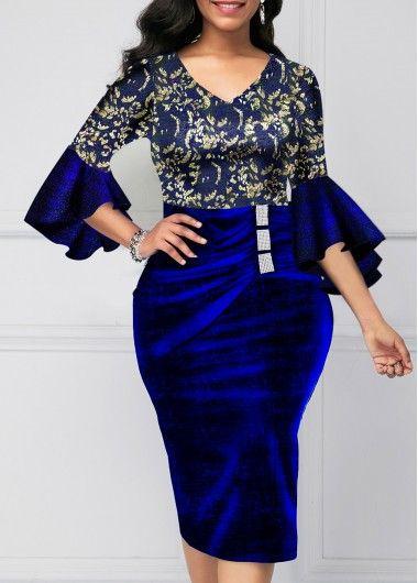 V Neck Flare Sleeve Sparkle Sheath Dress | Rotita.com – USD $31.89