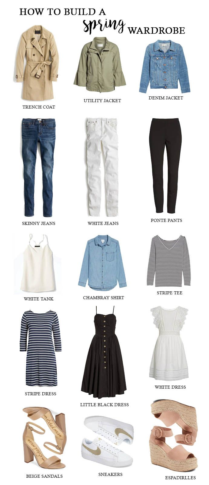 How to Build A Spring Wardrobe: 15 basic and closet staple pieces for spring that are easy to mix and match to create multiple outfits.