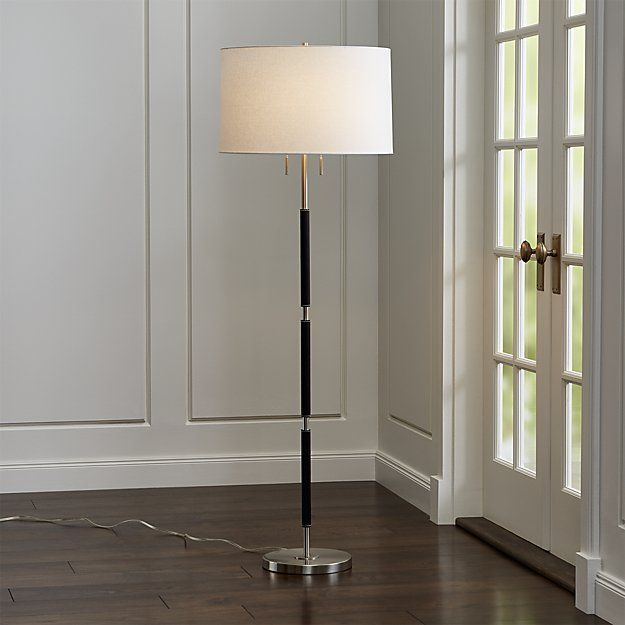 Owen Nickel Floor Lamp With Black Leather Crate And Barrel