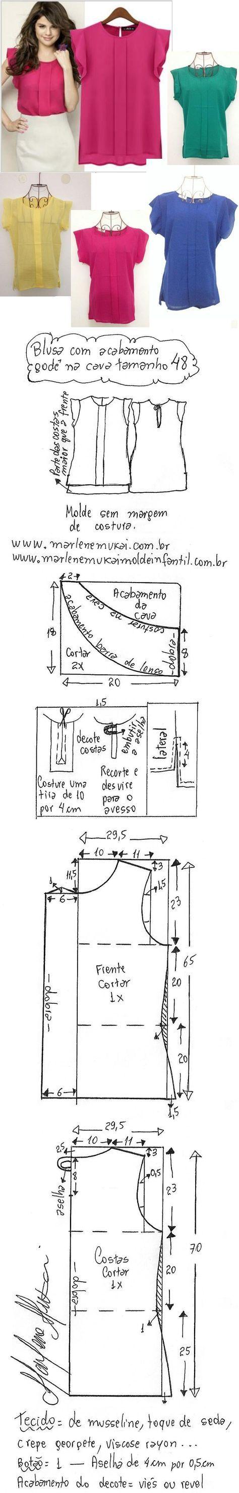 Blusa com acabamento godê na cava. Esquema de modelagem de blusa com acabamento godê na cava e detalhe em prega macho na frente do 36 ao 56.