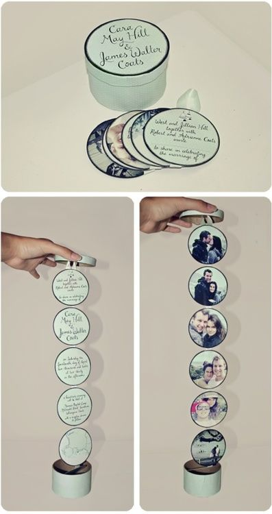 Round box invitation that folds out with pictures on one side and party details on the other.