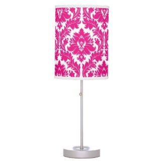 Hot Pink Damask Lamp
