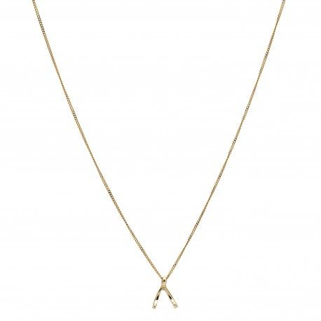 Wishbone Necklace Goldplated or 14K Gold