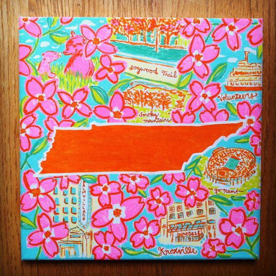 Lilly Pulitzer Large State Canvas by SweetMagnoliaCompany on Etsy, $30.00