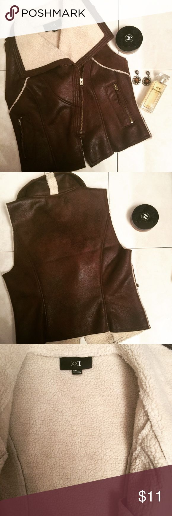 Dark Brown Vest from Forever 21. Medium. Mint Worn once. It's super cute with jeans. Size medium. From forever 21. Excellent condition. Bundle and save 💁🏼 Forever 21 Tops