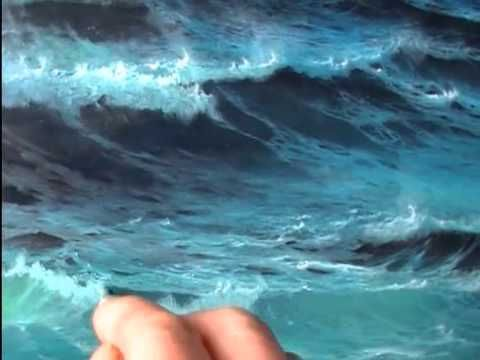How to paint foam on waves. Note how the artist ,Alan Kingwell, uses a stylus (not a brush) to place the brightest highlights, then softens them with a brush.