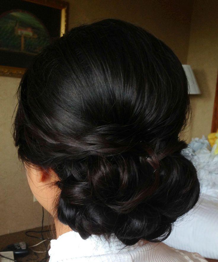 Wedding updo, wedding hair, bridal hair, chignon, asian bridal hair