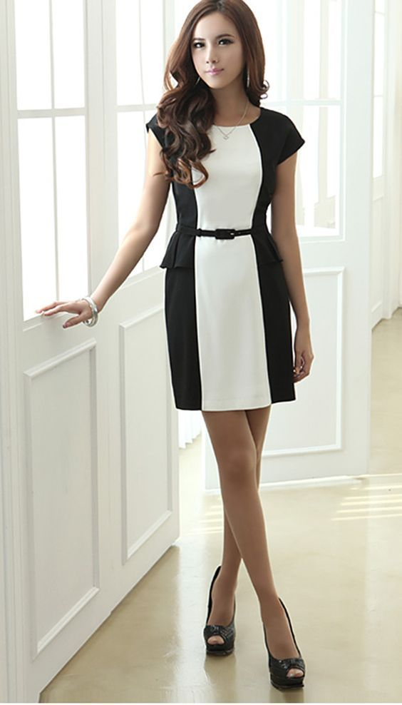 ALI EXPRESS carreira formal vestidos vestidos black+white:
