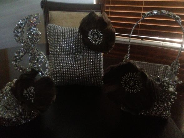 DIY Brooch Cake Topper, Brooch Flower Girl Basket, Pillow :  wedding cake diy flowers ivory purple ring silver white Pillow