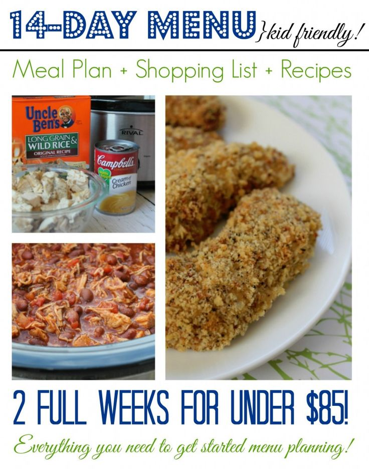 2 Week Meal Plan, Recipes and Shopping List | http://www.passionforsavings.com/2-week-meal-plan-family-friendly-menu-shopping-list-recipes/