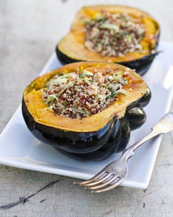 Stuffed Acorn Squash with Quinoa and Herbs. Perfect for fall weather! Beautiful, festive, and delicious.
