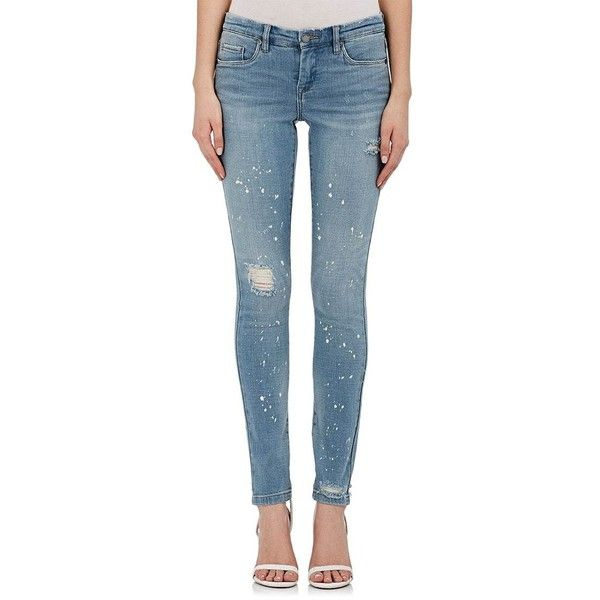 BLANKNYC Women's Paint-Splattered Skinny Jeans (865 MXN) ❤ liked on Polyvore featuring jeans, light blue, light blue ripped jeans, slim fit jeans, slim skinny jeans, ripped jeans and light blue skinny jeans
