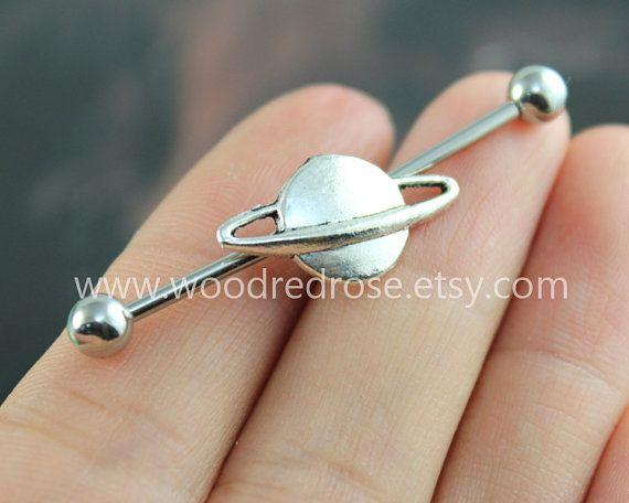 Industrial Barbell con plata Saturno cuerpo joyería joyería