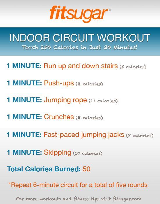 Indoor Circuit Workout Poster | POPSUGAR Fitness