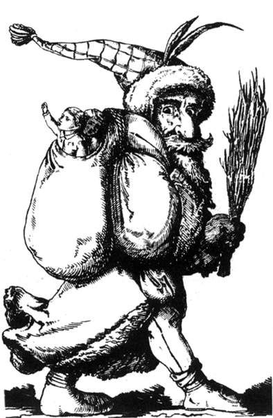 Knecht Ruprecht, Deutsche Weihnachten ~ Knecht Ruprecht is a companion of St. Nicholas and is seen here carrying a bundle of switches for children who have been bad; an alternative might be a lump of coal. @ wikipedia.com