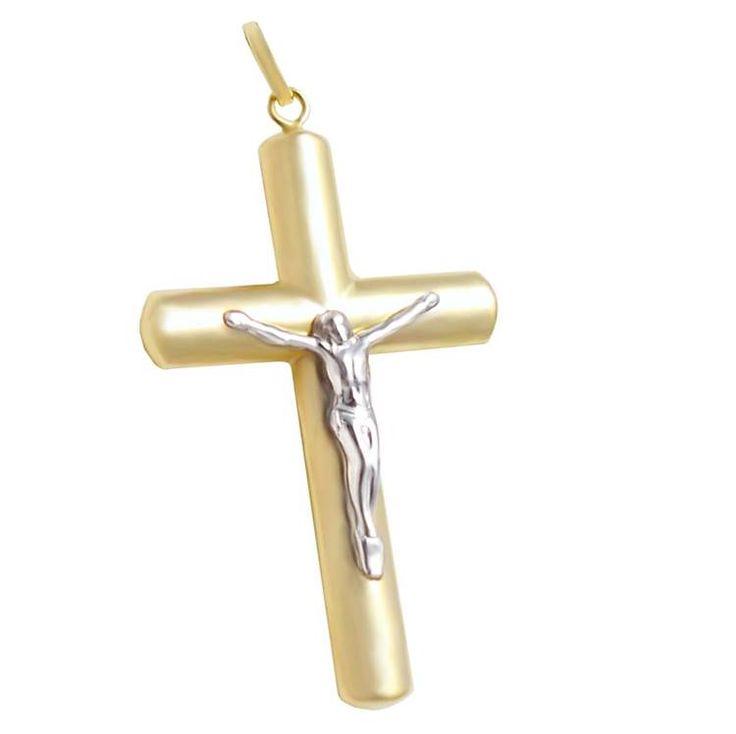 ΣΤ649Ζ- Χρυσός βαπτιστικός σταυρός με Εσταυρωμένο