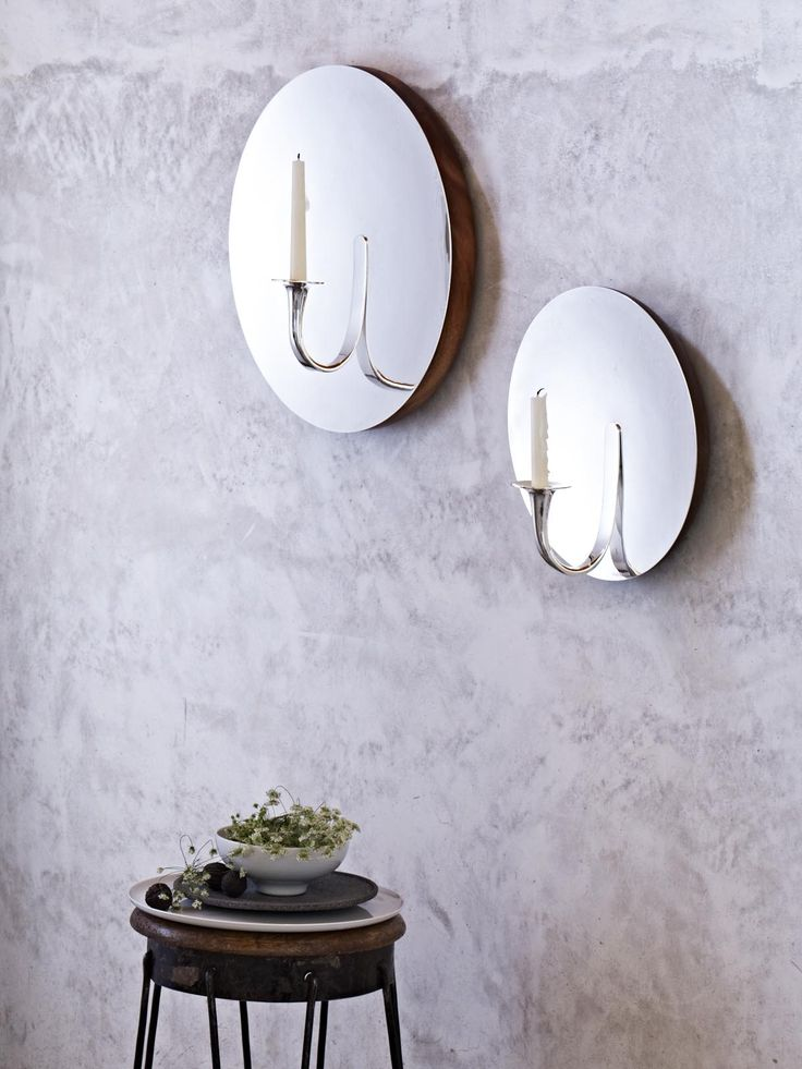Moon Sconces, Porcelain Bowl and Recinto Plate. Check out the full collection here: http://www.bodosperlein.com/tane #silverobjects #designertableware #bodosperlein #objectsofdesire