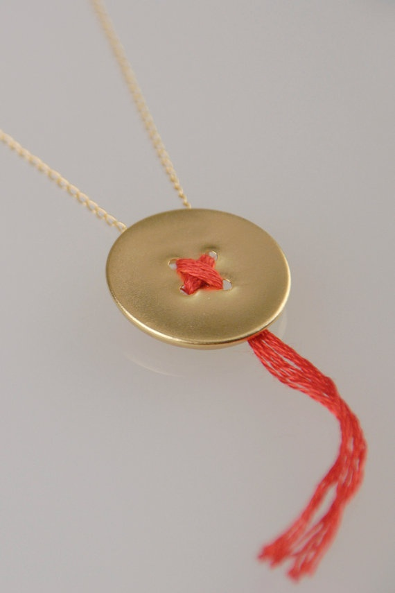Golden Button and a Red Thread necklace