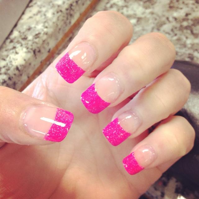 hot pink tip nails - photo #1