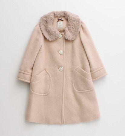 CHILD WOMAN : シャギーファー付き Aラインコート