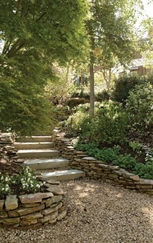 Retaining walls specifically designed to recreate the look of stacked rock walls by saundra