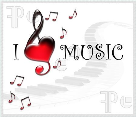 Illustration of White background with notes and text - Love Music