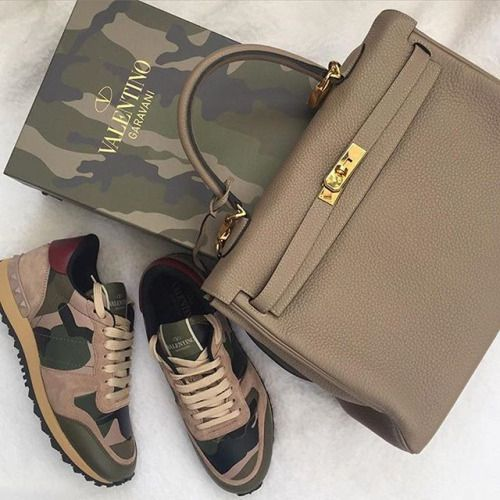 Kelly bag and Valentino sneakers