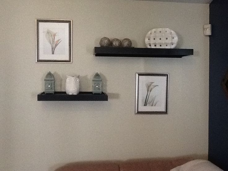 Wall shelves above couch idea taken from a pin in my Over the sofa wall decor ideas
