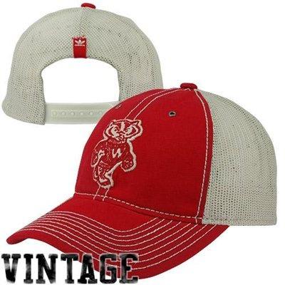 adidas Wisconsin Badgers College Vault Slouch Trucker Adjustable Hat - Cardinal