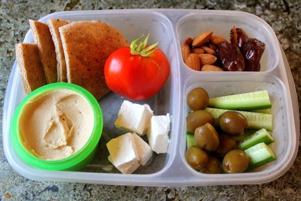 Pita Bread and PB (instead of Hummus), cheese, veggies, dates and almonds
