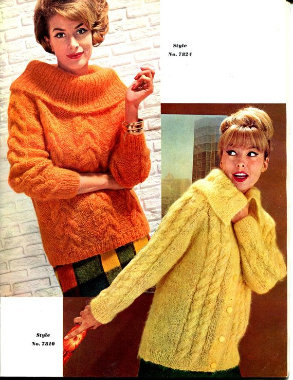 1967 Vintage Women's Chunky Cable Knit Pullover and Cardigan Sweater Knitting Pattern PDF Format 2 Patterns. $2.50, via Etsy.